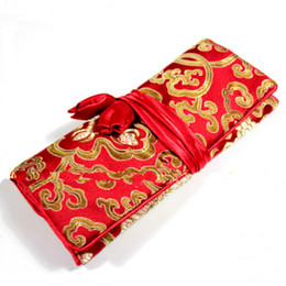 Wholesale Red Silk Brocade Fabric - Portable Folding Travel Roll Bag for Cosmetic Jewelry Storage Silk Brocade Fabric Craft Drawstring Packaging Pouch 3 Zipper Pocket