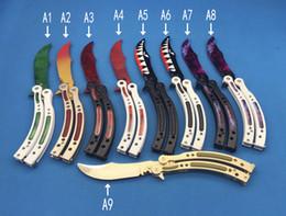 Wholesale Edge Training Knives - NEW 9models cs go Butterfly knife balisong Karambit folding knife blade gift training knife no edge knives
