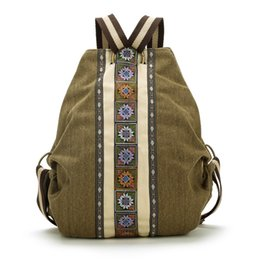 Wholesale Embroidered Drawstring Bags - High Quality sac a dos Ethnic Vintage Canvas Backpacks for Women Embroidered Rucksack Drawstring Bag School Travel Boho Mochila