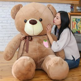 Wholesale Large Bear Stuffed Animal - 2017 Low Price Stuffed Animals Bear Plush Toys Large Teddy Bear Big Bear Doll  Lovers Birthday Baby Gift 120cm 140cm