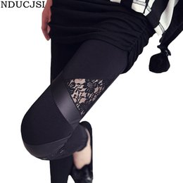 Wholesale Charming Hot Sexy Girls - Wholesale- Girl Leather Workout Leggings Skinny Hollow Hot Charming Warm Legging Stretch Lace Legins Sexy PU Leggins Black Splicing Pants