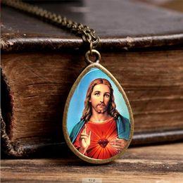 Wholesale Vintage Religious Art - 2017 New Jesus Christ Necklace Art Religious Tear Drop Pendant Gifts Christian Handcraft Jewelry Vintage Photo Necklaces
