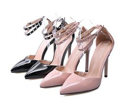 Wholesale Nude Bridesmaids Shoes - 2017 bridesmaid black nude pointed patent PU leather ankle strap high heel pumps women work shoes size 35 to 40