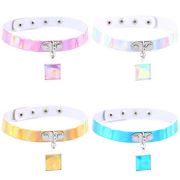 Wholesale Laser Belts - Handmade Holographic crystal square Choker Handcrafted Cute Harauku Silver Metal Laser Collar Punk Gothic Belt Necklace 172209