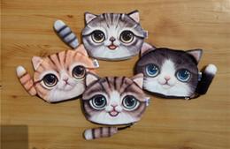 Wholesale Printer Cartoon - Women 3d Cat Coin Purse Bag Wallet Girls 4 Design Clutch Purses Printer Cat face Change Purse cartoon handbag case Free Shipping DHgate