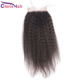 Wholesale Coarse Yaki Lace - Raw Indian Kinky Straight Closure With Baby Hair Coarse Yaki Top Lace Closures Piece Bleached Knots Afro Kinky Straight Human Hair Closure