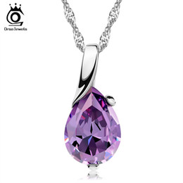 Wholesale 2014 New Design Amythest Pendant Necklace Sterling Silver on Layer Platinum Plated Top Quality Jewelry ON39