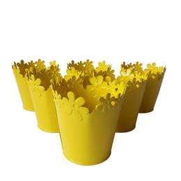 Spedizione gratuita giallo Smal lbonsai Vaso Pentole in metallo puro giardino secchio scatola di latta pentole di ferro fiore Mini Vivaio da secchio di metallo giallo fornitori