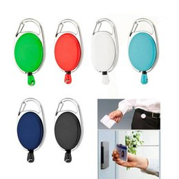 Wholesale Pull Reel Badge Holder - 200 pcs Retractable Pull Key Ring Chain Reel ID Lanyard Name Tag Card Badge Holder Reel Recoil Belt Key Ring Clip