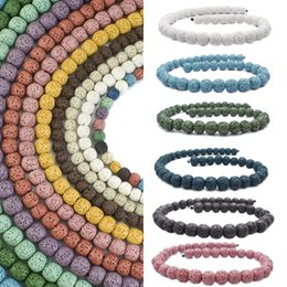Wholesale 14mm White Stone Beads - Colorful 14mm Volcanic Rock Natural Lava Beads High Quality Loose Beads For Necklace Bracelet Jewelry Making Free DHL D215S