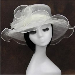 Wholesale Decoration Church - 56cm Ladies Organza Hat Kentucky Derby Wedding Church Party Floral sun summer Hat 9 Color can Choose Party Supplies
