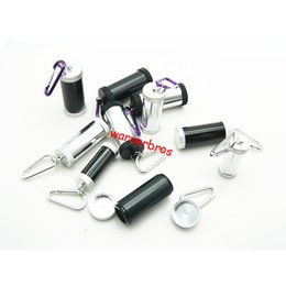 Wholesale Cylinder Hook - 10pcs black portable metal cigarette ashtrays keyring keychain cigar ash tray sliver HOOK Car Cylinder smoking pipes tobacco MINI Ashtray