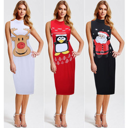Wholesale Lady Sexy Santa - Fashion Sexy Women Dress Dresses Ladies Girls Elegant Santa Claus Deerlet Christmas Party Dress Sleeveless Bodycon Dresses Women Clothes 375