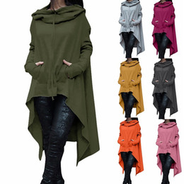 Wholesale Cord Sleeves - Women's Fashion Solid Color Draw Cord Coat Long Sleeve Loose Casual Poncho Coat Hooded Pullover Long Hoodies Sweatshirts Plus Size CL049