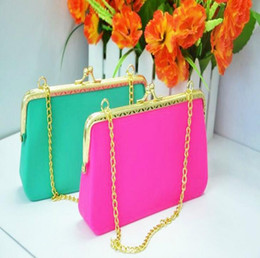 Wholesale Credit Card Charms - Charm color silicone handbag Coin bag Wallet multifunction handsets makeup bag Coin Purse Alloy Chain Women Candy bag