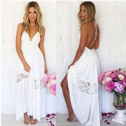 Wholesale Halter Cocktail Maxi Dress - Off White Beach Dress New Stock Womens Maxi Boho Summer Beach Lace Long Skirt Evening Casual Cocktail Party Dress Sleeveless Summer Outfit