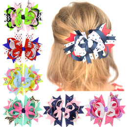 Wholesale Double Prong Ribbon Hair Clips - Printed Children Multilayer Ribbon Single Prong Alligator Hair Clips 6 Colors Available Boutique Kids Double Decorations Hair Accessories