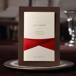 Wholesale Brown Wedding Invitation Cards - Wholesale- Wishmade Brown Wedding invitation Card With Red Ribbon decor vintage wedding invitations Free personalized & Customized