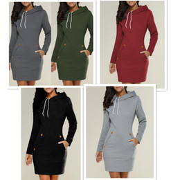 Wholesale Knee Length Hoodie - high quality Fashion women shirt dress casual loose long sleeved Hoodie Sweatshirts Pullovers Sport Outwear Tops casual dresses plus size