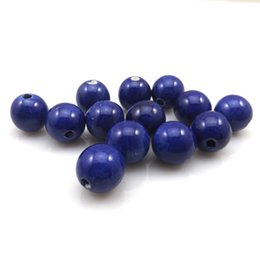 Wholesale Diy Loose Ceramic Beads - High Quality 100pcs Lot 14mm Royal Blue Round Ceramic Loose Beads For DIY Jewelry Making Free Shipping