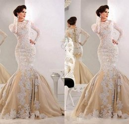 Wholesale Tulle Couture - Arabic Jajja-Couture Mermaid Evening Dresses 2017 Vintage Lace Long Sleeve Sequins Tulle Custom Made Women Formal Celebrity Prom Gowns