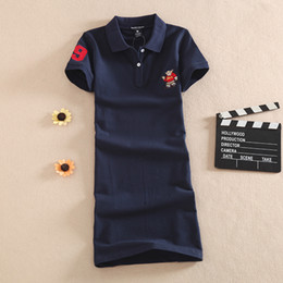 Wholesale Summer Cotton Short Sleeve Dresses - 2017 summer long dress made of pure cotton POLO collar cultivate one's morality short sleeve T-shirtt