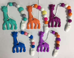 Wholesale Giraffe Teether Wholesaler - BPA Free Silicone Teething Pendant Clips Baby Teething Pacifier Clips with Cute Giraffe Pendant Chew Heart Silicone Beads Teether Wholesale