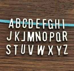 Wholesale 7mm Bracelet - Wholesale- 50pcs A-Z Antique silver Slide Letters Charms DIY fit 7mm flat leather bracelet , Alphabet Word Letter 6737