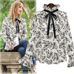 Wholesale Bell Stand - 2017 Spring Women's Florals Blouse Lady's Ruffles Stand Collar Bowknot Flare Sleeve Chiffon Tops Shirt Females Flowers Blouses 3 Colors