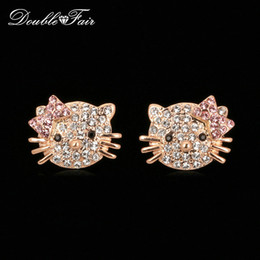 Wholesale Crystal Kitty Cat Earrings - Hello Kitty Cat Crystal Party Stud Earrings 18K Rose Gold Plated Lovely Cat Fashion Brand CZ Diamond Cute Jewelry For Women Wedding DFE665