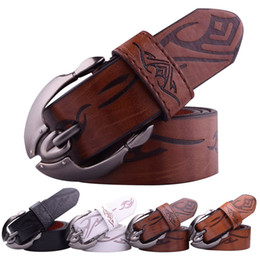 Wholesale White Leather Belt For Sale - Hot Sale 70% FAUX leather + 30% cow leather backed men's belts for men large metal pin buckle cowboy belts cintos ceinture