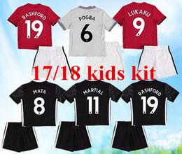 Wholesale United Kids - kids kits 17 18 Man Utd POGBA Soccer Jersey United 2017 2018 LUKAKU Rooney Rashford MATA Mkhitaryan kids Home away 3RD football shirts