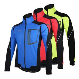Wholesale Cycling Clothing Winter Jacket - 2016 Arsuxeo Windproof Jackets Long Sleeve Winter Thermal Fleece Cycling Jerseys Bicycle Bike Cycling Clothing Men's Jacket 3 Colors