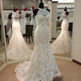 Wholesale Western Lace Dresses Cheap - Real Images Vintage Full Lace Mermaid Wedding Dresses High Neck Sweep Train Custom Made Garden Western Country Wedding Bridal Gowns Cheap