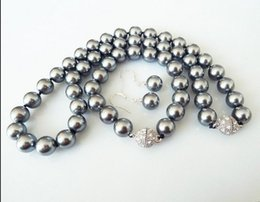 Wholesale Grey Pearls Set - wholesale 10mm grey natural shell pearl fashion bracelet earring necklace set