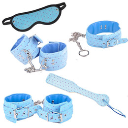 2019 dedos de la esclavitud Kits de vendajes de posicionamiento erótico azul rojo Juguetes SM Esclavos sexuales Juego de roles Cosplay Juguetes 5en1 con esposas Collar de grillete J10-26