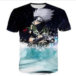 Wholesale Mens Printed T Shirts Sale - Newest Fashion Hot Sale Womens mens Classic Anime Naruto Kakashi Funny 3D Print Casual T-Shirt AB116