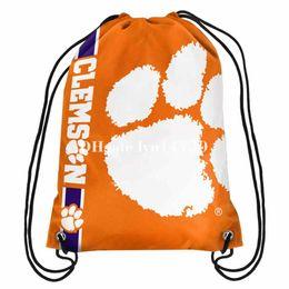 Wholesale Tiger Stripe Bag - 35x45 knitted polyester champions Clemson Tigers Logo side stripe drawstring backpack bag flag with metal Grommets