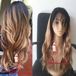 Wholesale Two Tone Blonde Hairstyles - Honey Blonde Ombre Full Lace Wig Two Tone 1B 27 Dark Root Ombre Body Wave Human Hair Lace Front Wigs
