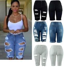 Wholesale Women Jeans Leggings - Women Elastic Hole Leggings Short Pants Harajuku Style Casual Street Style Blue Denim Shorts Ripped Boyfriend Jeans