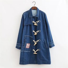 Wholesale Winter Coats Japan - S31-Autumn and winter retro coat Japanese embroidery patch leisurely loose horned buckle denim long trench,support drop shipping