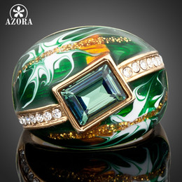 Wholesale Austrian Rectangle Crystal Ring - Wholesale- AZORA Gold Color Green Rectangle Stellux Austrian Crystal Oil Painting Pattern Ring TR0024