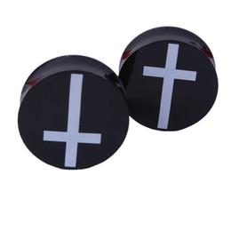 Wholesale Cross Ear Plugs - Acrylic Ear Plugs Tunnels Earring Gauges White Cross Hollow Double Flare Ear Tunnels Expanders Plugs Piercing Ring Jewelry