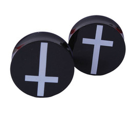 Wholesale Plug Double Flare - Acrylic Ear Plugs Tunnels Earring Gauges White Cross Hollow Double Flare Ear Tunnels Expanders Plugs Piercing Ring Jewelry