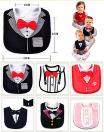 Wholesale Bib Baby Dress - Hot sale Solid red bowtie gentleman dress modelling saliva towel baby bibs Pure cotton bibs threelayer of waterproof for free shopping