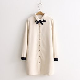 Wholesale Cute Long Sleeve Shirts - Winter Shirts for women Cute style Long sleeve Mori girl With velvet Women Blouses Beige color