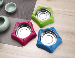 Wholesale Ashtray Smokeless - Candy color ashtray fashion plastic stainless steel ashtray for bar hotel creative groove settings good for placed