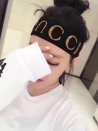 Wholesale Red Music Box - Men women sports Letter logo Headband white Hair band towel new hair accessories letter wide hoop wash head cover black White Red With box