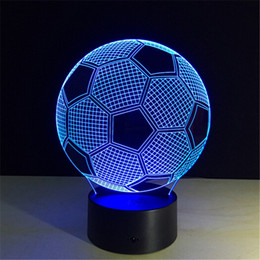 Wholesale Novelty Candle Light - LED remote control football 3d table lamp touch 3D Night light Creative gift Novelty Night light colorful