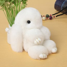 Wholesale Red Rex - Real Genuine Rex rabbit Furs Keychain Pendant Bag Car Charm Tag Cute Mini Rabbit Toy Doll Real Fur Monster Keychains